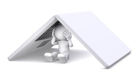 3d character hiding under notebook. Hidden from problems photo