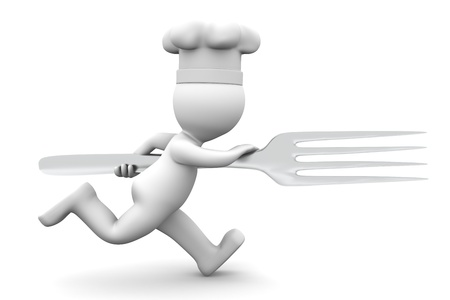 chrome man: Chef running with fork. Rendered on white backgroung