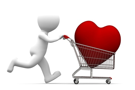 cart: 3d character driving shopping cart with red heart inside,. Conceptual shopping illustration