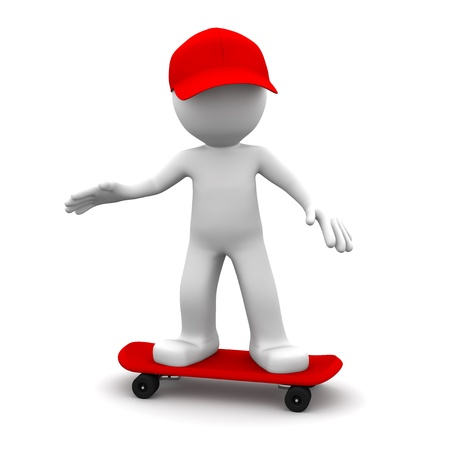 skateboarder: 3D skateboarder. Isolated on white background Stock Photo