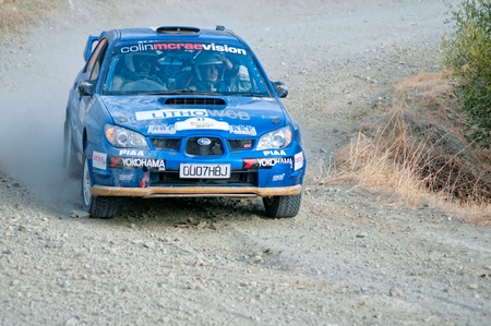 subaru: LIMASSOL, CYPRUS - NOVEMBER 7: Driver Panayiotis Kyriacou (cy) and co-driver Christos Aristidou (cy) driving Honda Civic Type R3 During Rally Cyprus event at Love Cyprus Golden Stage on November 7, 2010 in Limassol, Cyprus.
