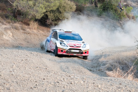 cz: LIMASSOL, CYPRUS - NOVEMBER 7: Driver Martin Prokop (cz) and co-driver Jan Tonamek (cz) driving Ford Fiesta S2000 During Rally Cyprus event at Love Cyprus Golden Stage on November 7, 2010 in Limassol, Cyprus.  Editorial