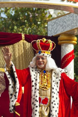 LIMASSOL - el 14 de febrero: Rey de Carnaval en desfile de Carnaval el 14 de febrero de 2010 en Limassol, Chipre.