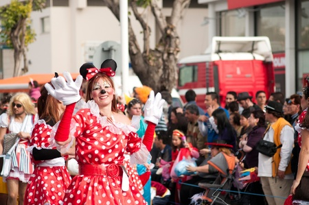 LIMASSOL, CYPRUS - MARCH 6: Woman dressed as a cartoon mouse at Carnival Parade on March 6, 2011 in Limassol, Cyprus.