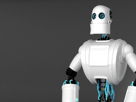 Standing Robot with dark blank background. Front view photo