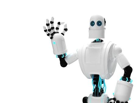 Robot et donnant ok. Isolé sur fond blanc Banque d'images