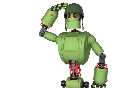 armed: Saluting Robot soldier. Isolated on white Stock Photo