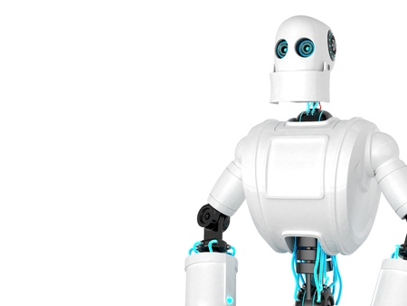 sci: Standing Robot isolated over white backgroun. Front view