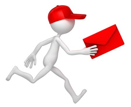 facteur: Postman en cours d'ex�cution avec l'enveloppe. Isol� sur fond blanc Banque d'images