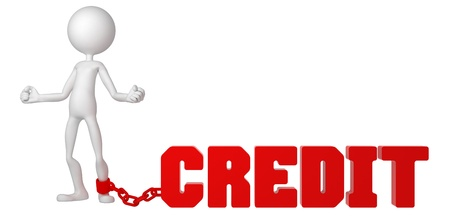 taxpayer: Businessman with a foot chained to a CREDIT sign. Conceptual business illustration. Isolated
