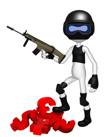 Currency wars. SWAT police officer with currency symbols Stock Photo - 10711548
