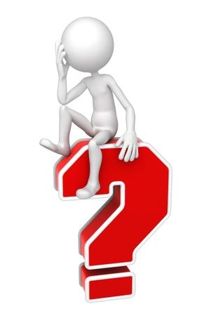 persona confundida: 3D persona sentada en signo de interrogación rojo. Aisladas sobre fondo blanco