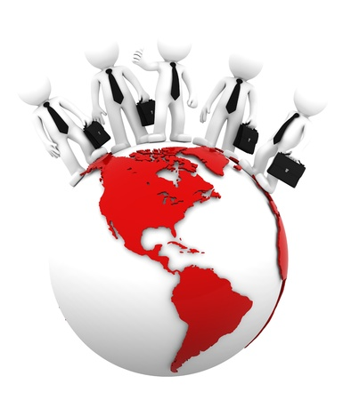 latin  america: Business team on top of the globe. American side. Conceptual business illustration. Isolated