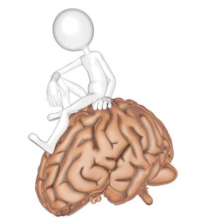 3d person sitting on a brain. Isolated on white background photo