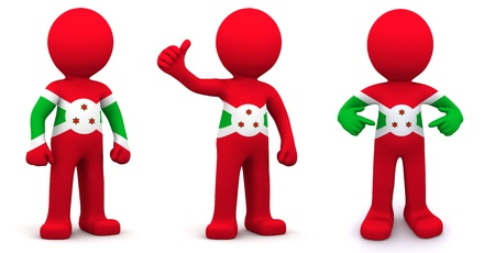 national flags: 3d character textured with flag of Burundi isolated on white background