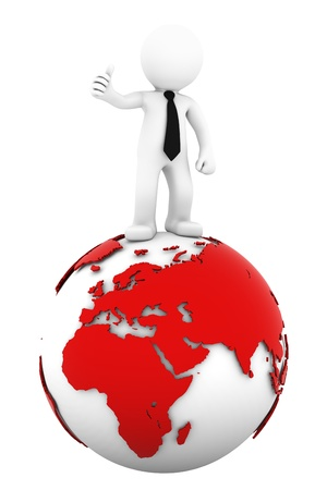 3d Businessman standing on earth globe: European and African side. Isolated on white photo