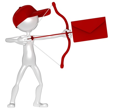 cartero: Persona que env�a correo con arco. Concepto de entrega urgente. Aislado Foto de archivo