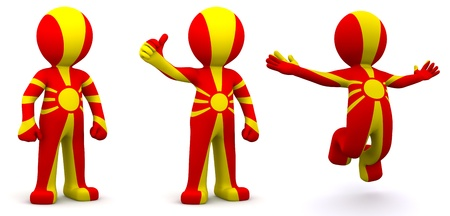 macedonia: 3d character textured with flag of Macedonia isolated on white background Stock Photo