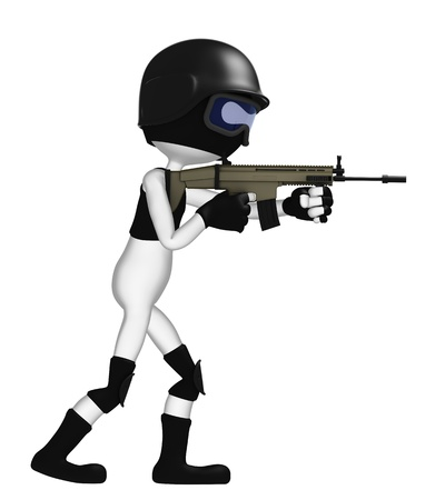 special agent: 3D soldier with a rifle isolated on white background Stock Photo