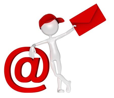 contact info: Postman con busta ed e-mail segno. Isolato