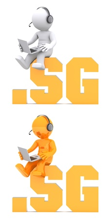 sg: 3d character sitting on .SG domain name. Isolated on white Stock Photo