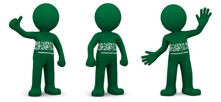 saudi: 3d character textured with flag of Saudi Arabia isolated on white background Stock Photo