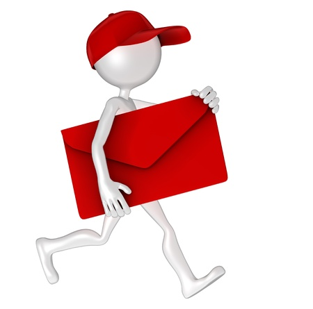 3d Postman delivering mail. Isolated Stock Photo - 10711496