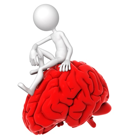 understand: 3d person sitting on red brain in a thoughtful pose. Isolated on white background