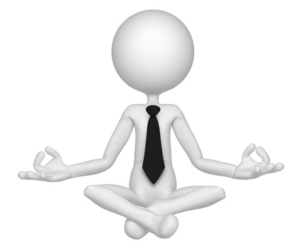 position: Relaxed businessman meditating in lotus position. Isolated