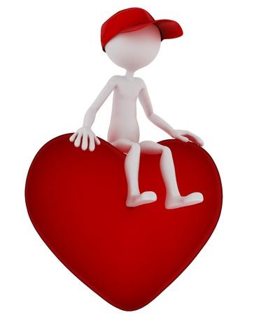 3d person: 3D persona sentada en forma de coraz�n. Aisladas sobre fondo blanco