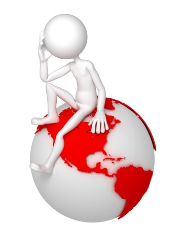 3d man sitting on Earth globe in a thoughtful pose. North and South American side. Isolated white background