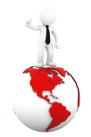 3d Businessman standing on earth globe  American side  Isolated on white  photo
