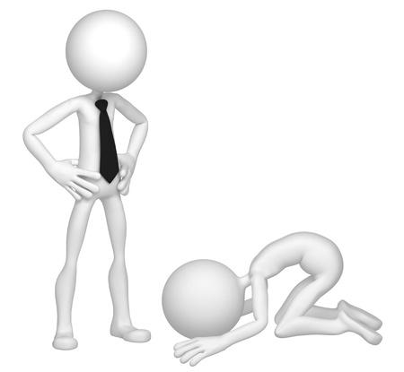 slave: Praying businessman. Isolated over white background