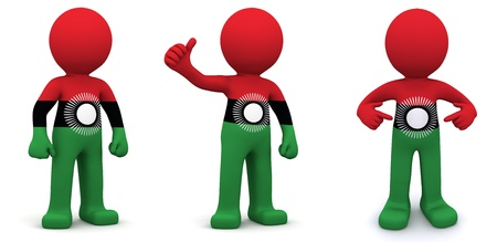 3d character textured with flag of Malawi isolated on white background photo