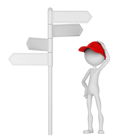blank road sign: 3d Man standing under signpost in a thoughtful pose. Isolated on white background