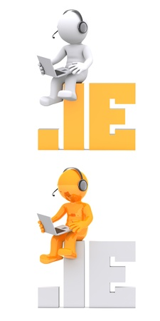 ie: 3d character sitting on .IE domain name. Isolated on white Stock Photo