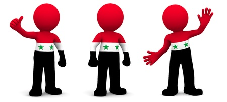 3d character textured with flag of Syria isolated on white background photo