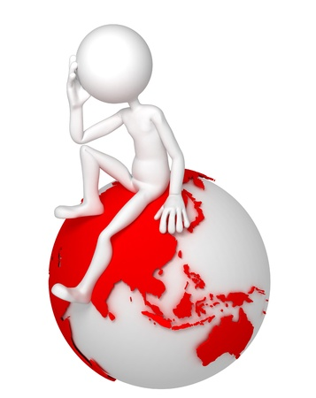 world thinking: 3d man sitting on Earth globe in a thoughtful pose. Asian and Australian side. Isolated white background