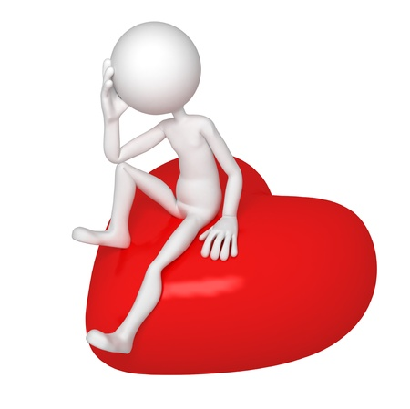 Sad lover sitting on red heart. Isolated over white background photo