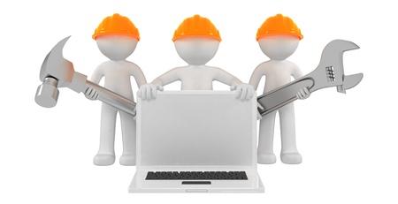 Constructores con ordenador port�til y herramientas. Aislado sobre fondo blanco Foto de archivo