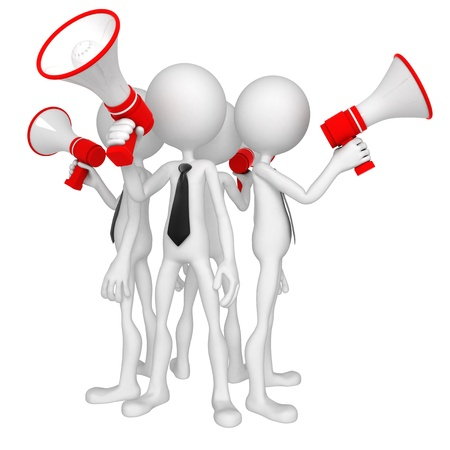 announcing: Group of business people with megaphone. Isolated