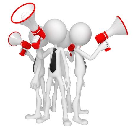 Grupo de empresarios con meg�fono. Aislado Foto de archivo