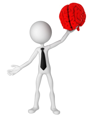 holding head: Businessman hold brain. Isolated
