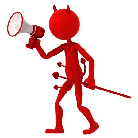 agitation: Devil agitate through megaphone. Isolated