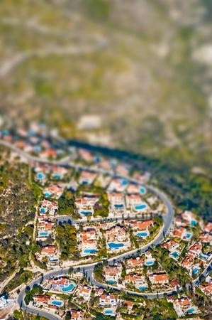 tilt: Aerial view of residential area with tilt shift lens effect Stock Photo