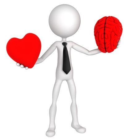 evaluacion: Difícil decisión. Empresario Corazón equilibrio y la mente. Aislado