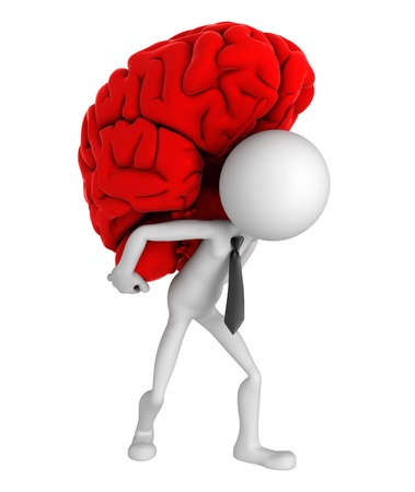 clever: Businessman carrying brain on his shoulders. Conceptual business illustration. Isolated Stock Photo
