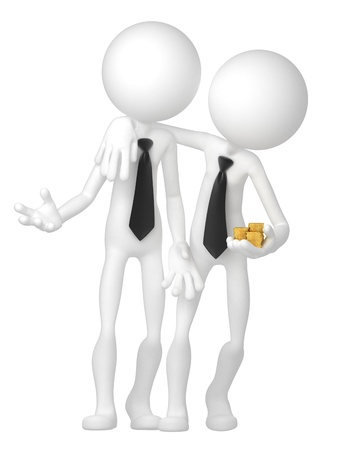 Two businessmen have a deal. Isolated on white