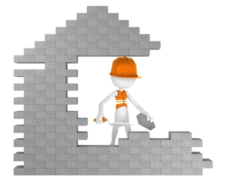 concrete block: Builder building a house. Isolated