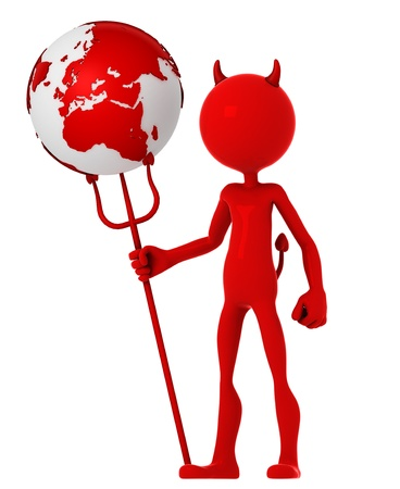 cataclysm: Devil hold earth globe. Isolated Stock Photo